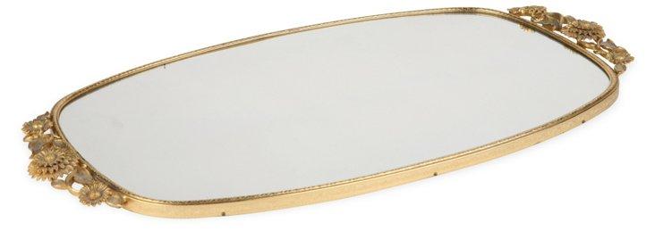 Brass Mirror Makeup Tray