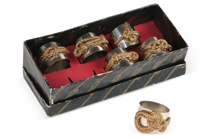 Chrome & Brass Napkin Holders, Set of 6