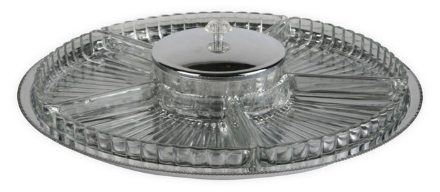 Vintage Glass Condiment Tray
