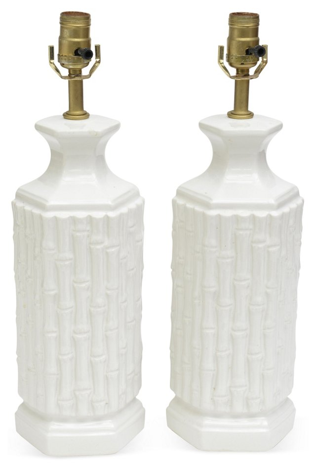 Faux Bamboo Lamps, Pair II