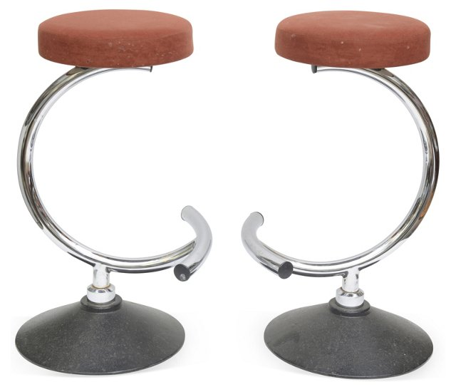 Chrome Stools, Pair