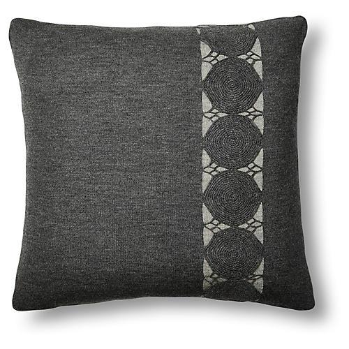 Paya 24x24 Crochet Sham, Charcoal