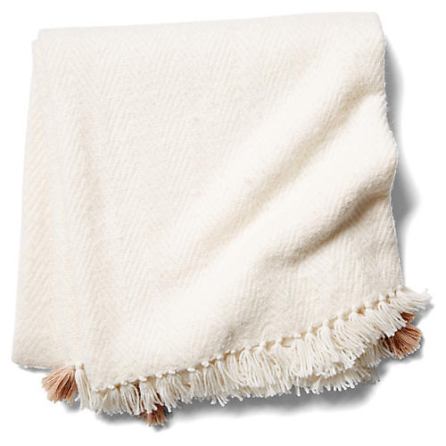 Tuktu Alpaca-Blend Throw, Sand/White