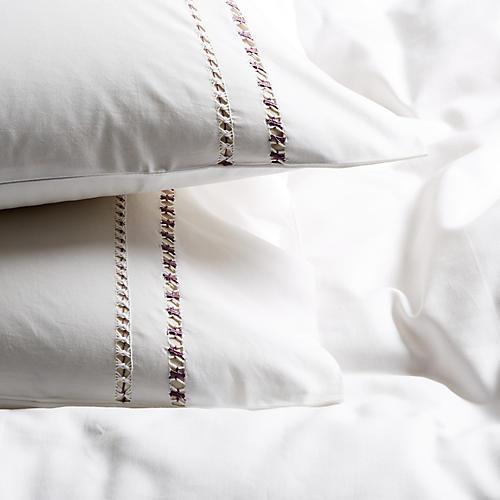 S/2 Neama Pillowcases, Plum/White