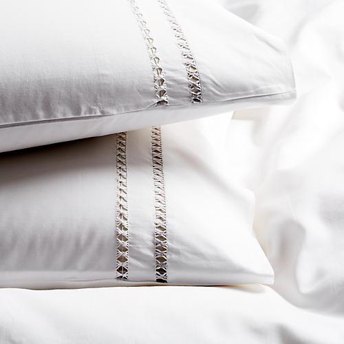 S/2 Neama Pillowcases, Charcoal/White