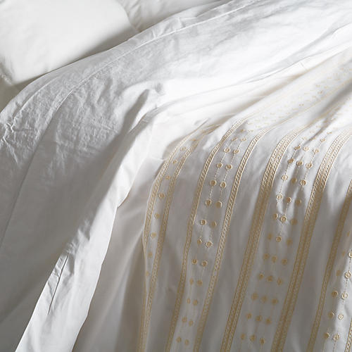 Kepri King Duvet, Cream/White