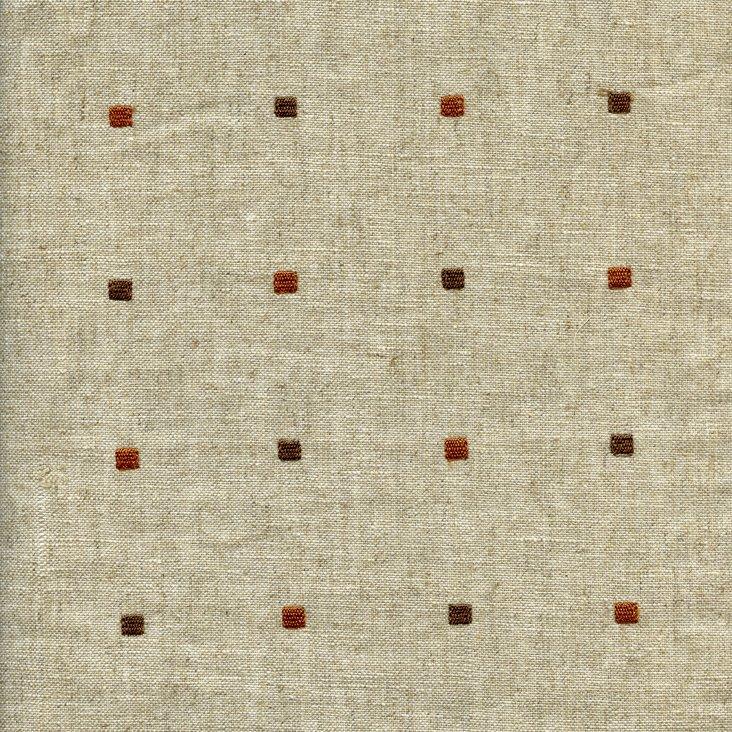 Squared Cotton/Linen Fabric, Taupe