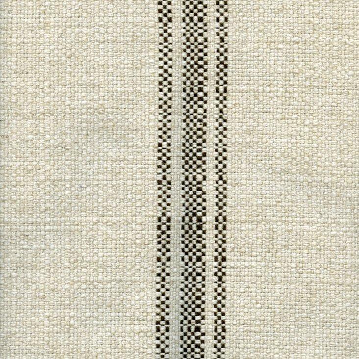 Stripe Linen/Cotton Fabric, Brown