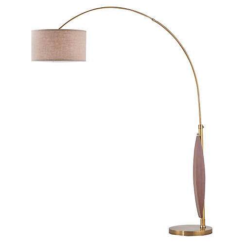 Clessidra Arc Lamp, Wood/Brass