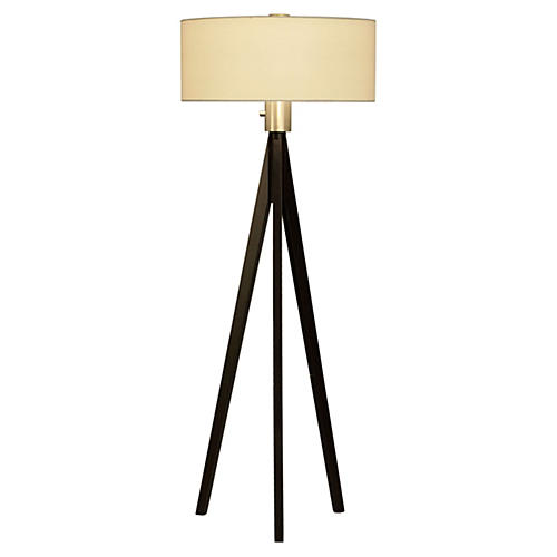 Sandy Tripod Floor Lamp, Dark Wood