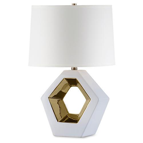 Zone Reclining Table Lamp, Bone White/Gold