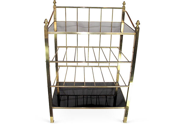 4-Shelf Brass Serving Bar