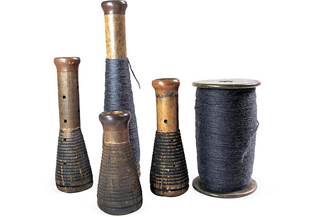 Industrial Textile Spools, Set of 5