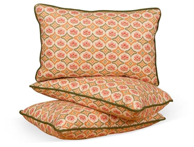 Floral Pillows w/ Green Trim, Set of 3