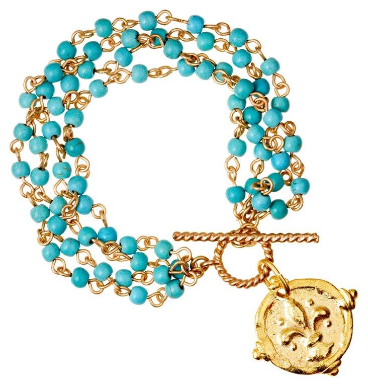 Fleur-de-Lis Charm & Blue Link Bracelet