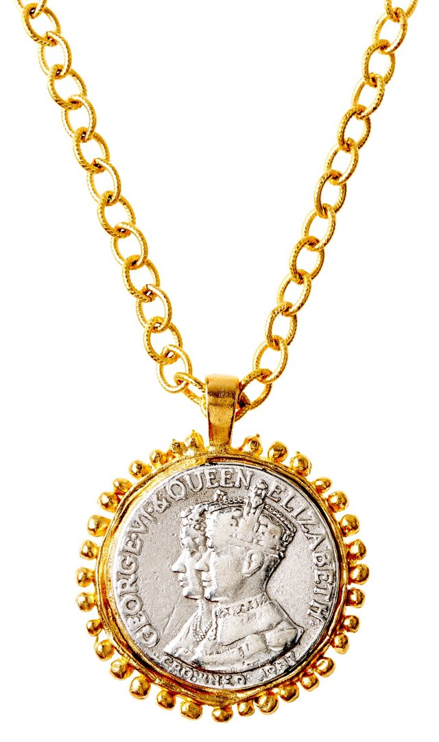 Two-Tone English Coin Pendant Necklace