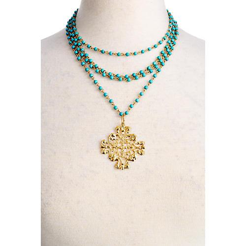 Turquoise Necklace w/ Filigree Pendant