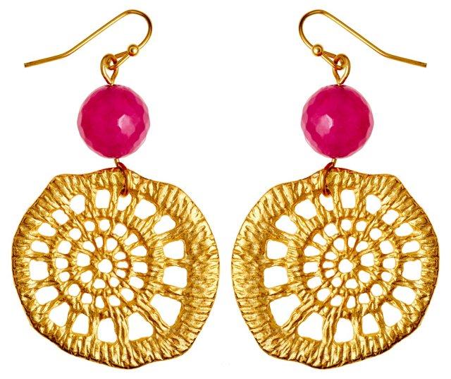 Lattice & Pink Jade Earrings
