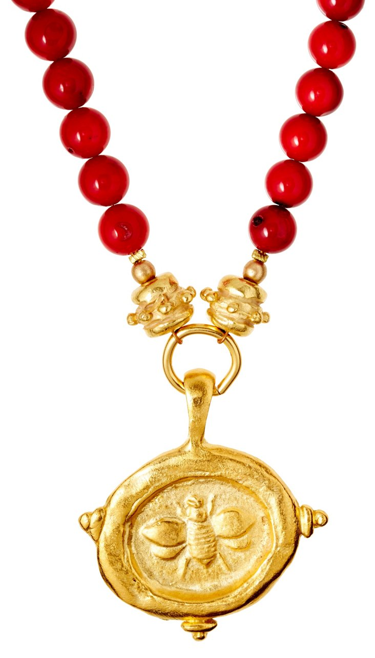 Gold Bee on Red Coral Necklace