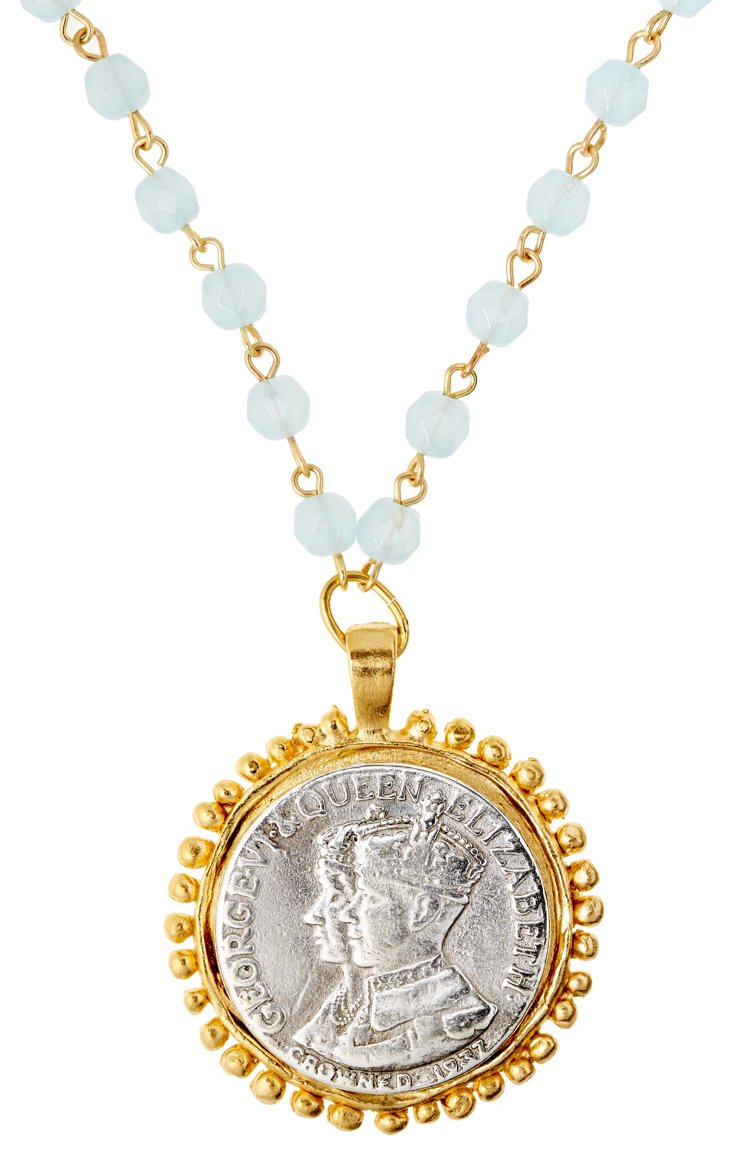Two-Tone Coin on Aqua Link Necklace