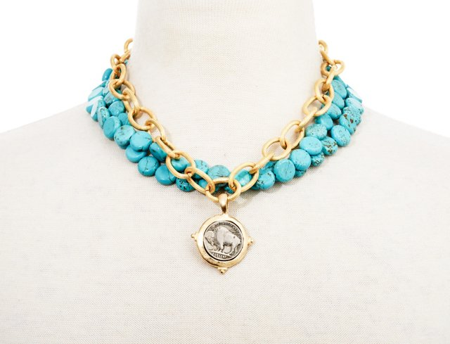 Buffalo Coin & Turquoise Necklace