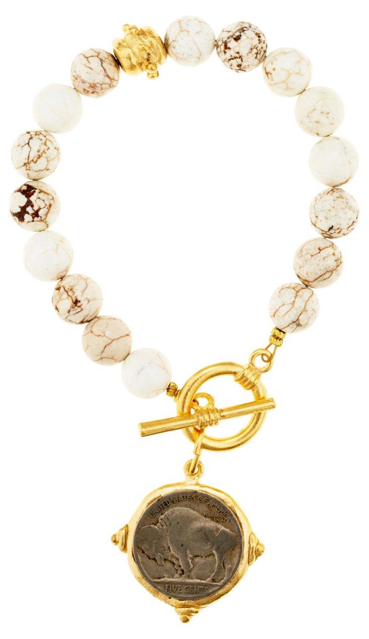Coin & White Turquoise Bracelet