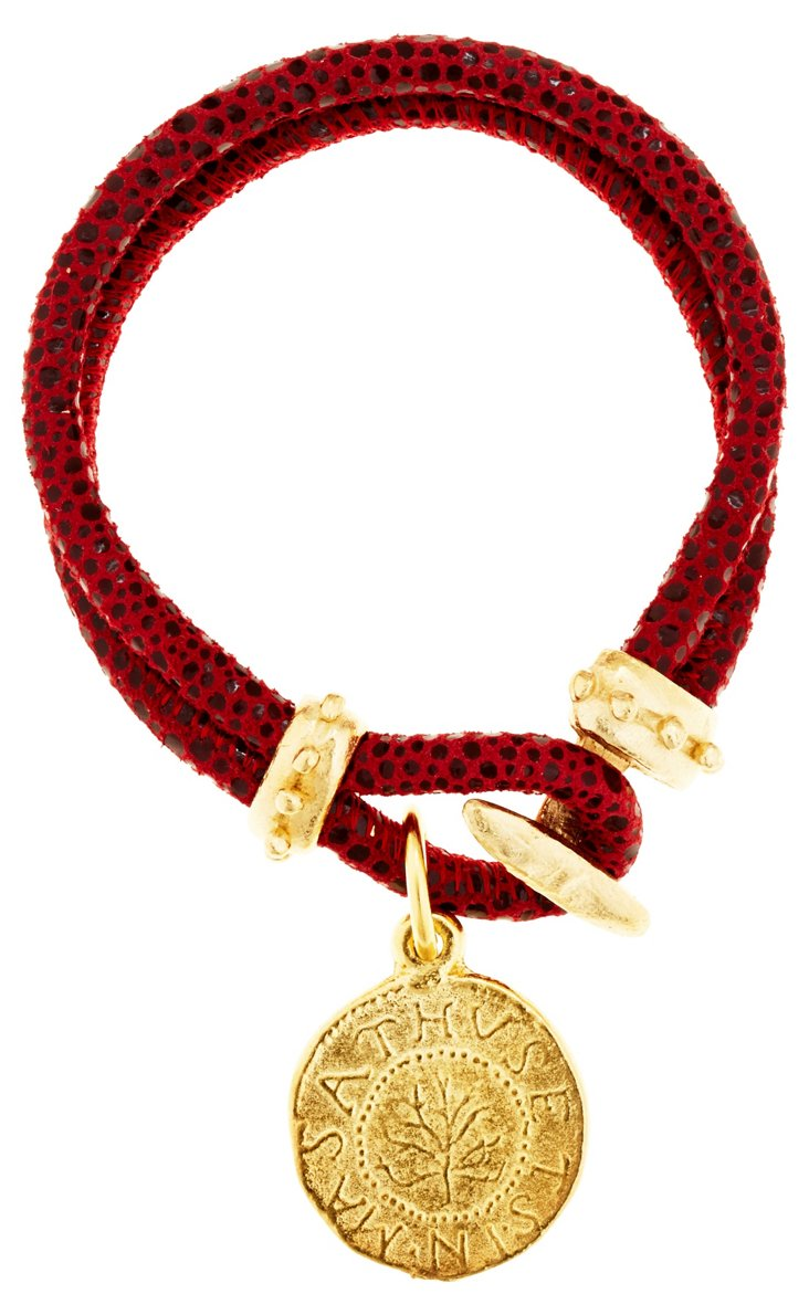Leather w/ Coin Bracelet, Red