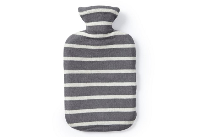 Hot Water Bottle w/ Striped Cover, Gray