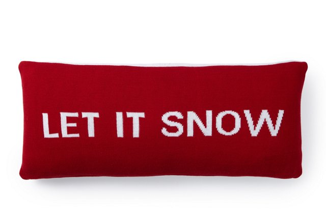 Let It Snow 12x28 Pillow, Red/White