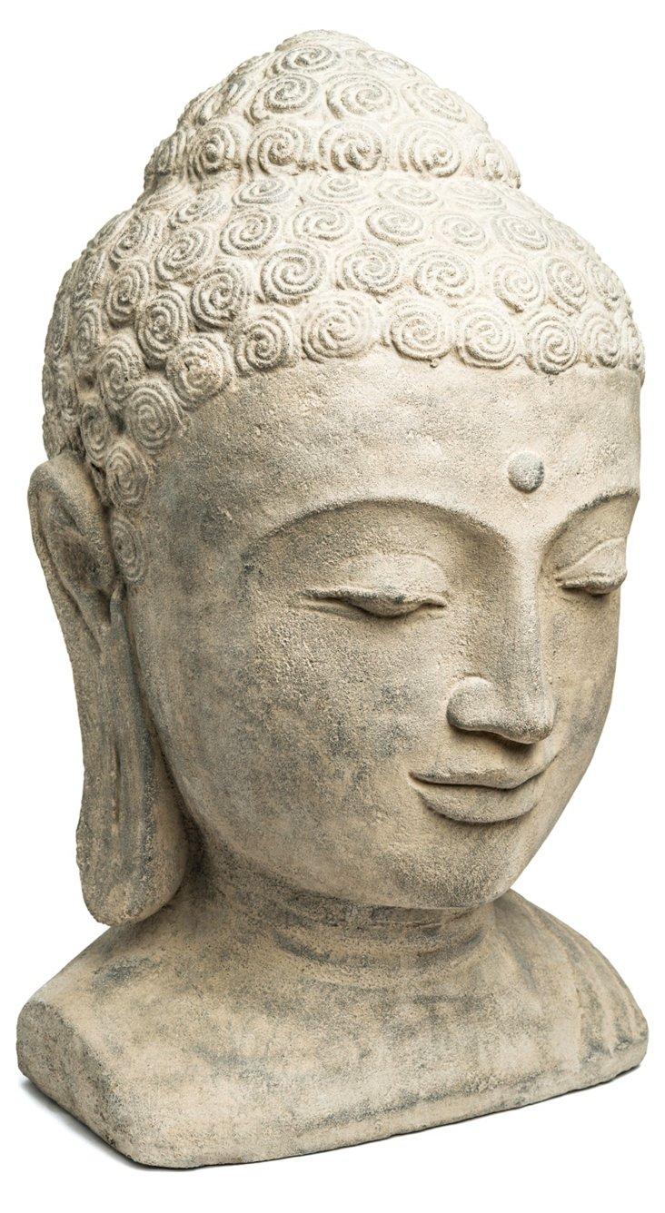 "16"" Volcanic Ash Buddha Head, Gray"