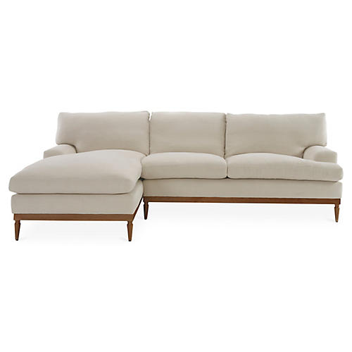Sutton Left-Facing Sectional, Bisque Linen