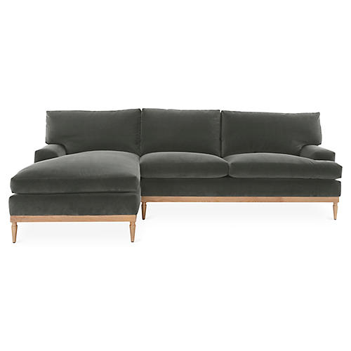 Sutton Left-Facing Sectional, Graphite Velvet