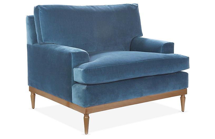 Sutton Club Chair, Harbor Blue Velvet
