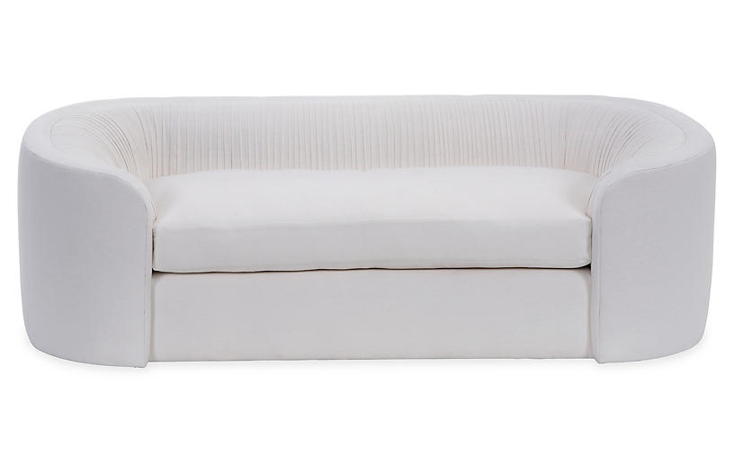 Clio Ruched Sofa, White Linen