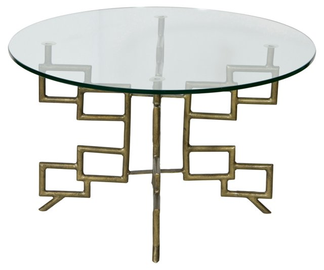 Dallas Coffee Table, Antiqued Gold