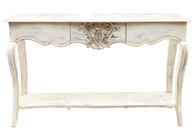 Caith Wood Console, Distressed White
