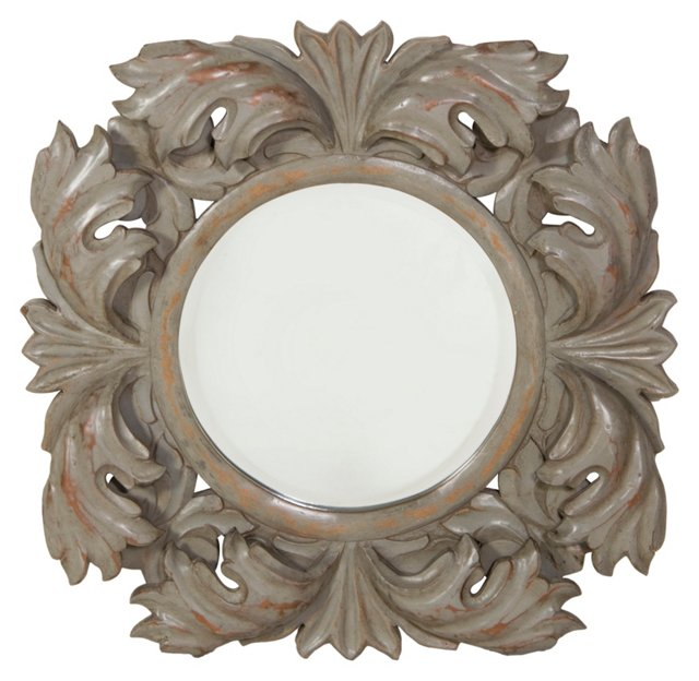 Mary Wall Mirror, Antiqued Green