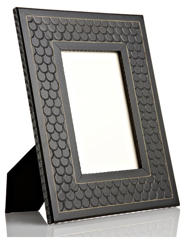 Hand-Carved Black Scales Frame, 4x6