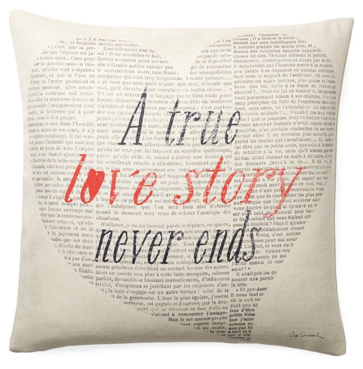 """""""Love Story"""" 20x20 Pillow, Ivory"""