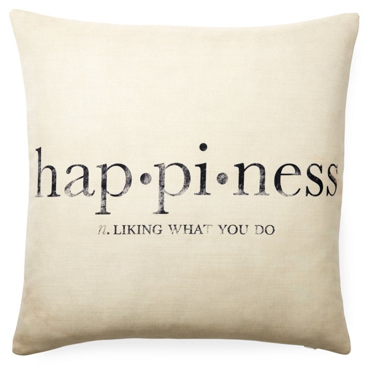 Happiness 20x20 Pillow, Oatmeal