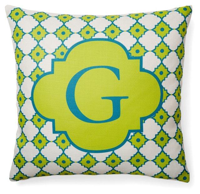 Monogram 20x20 Pillow, Lime