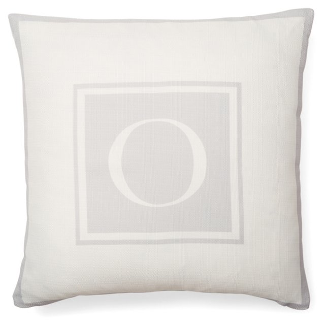 Monogram 20x20 Pillow, Light Gray