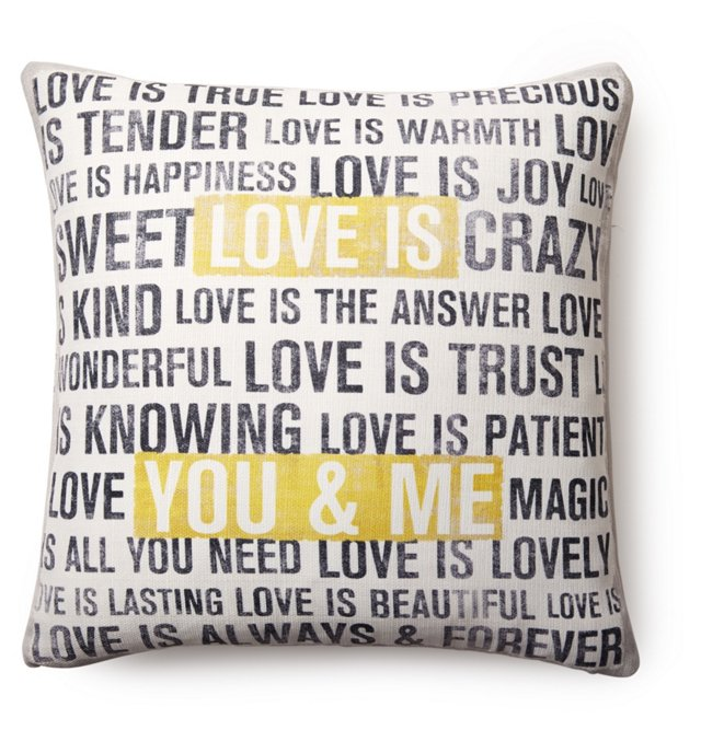 """Love is"" Square Pillow, White"