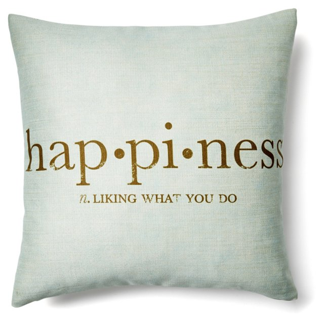 Happiness 20x20 Pillow, Light Blue