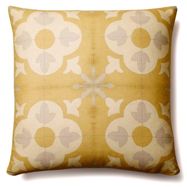 Tiles 20x20 Cotton Pillow, Orange