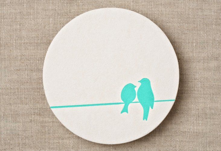 S/20 Birds on a Wire Coasters, Blue
