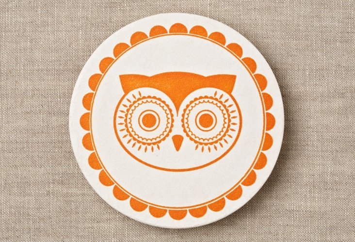 S/20 Retro Owl Coasters, Orange
