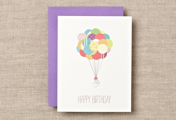 S/12 Balloon Birthday Boxed Cards