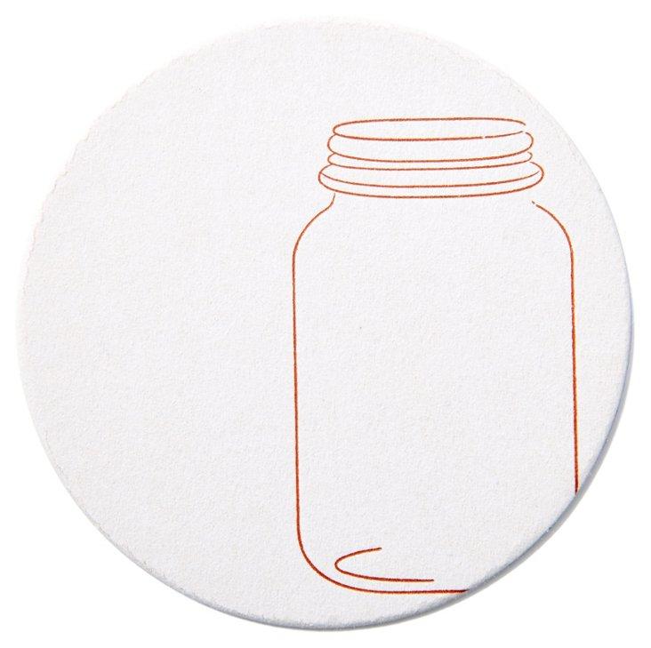 S/20 Mason Jar Letterpress Coasters