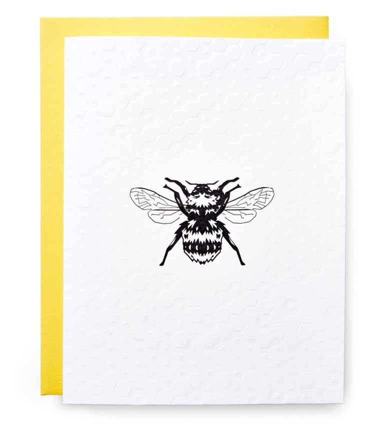 S/12 Letterpress Cards, Honeycomb Bee